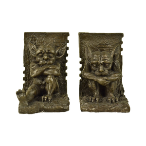Bronze medieval gargoyle bookends by Art Taylor
