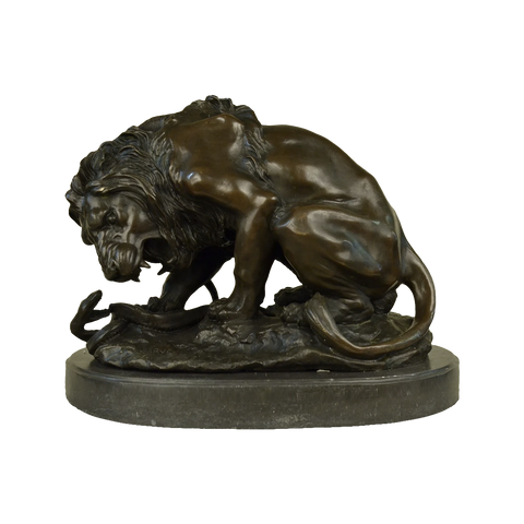 Lion Crushing a Serpent, signed Barye