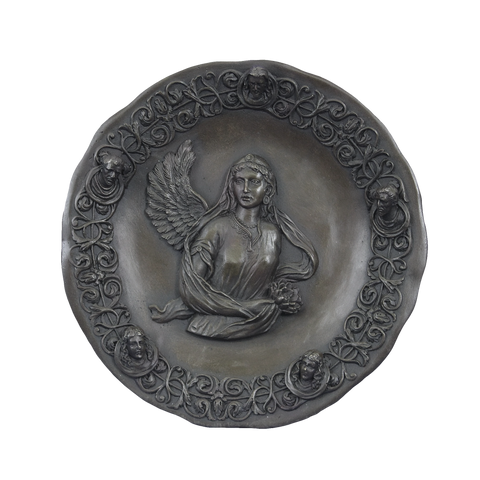 The Guardian Angel, bronze wall plate by Valli