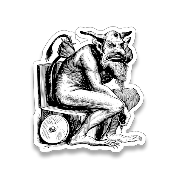 Belphegor demon sticker from 1863 illustration in Dictionnaire Infernal