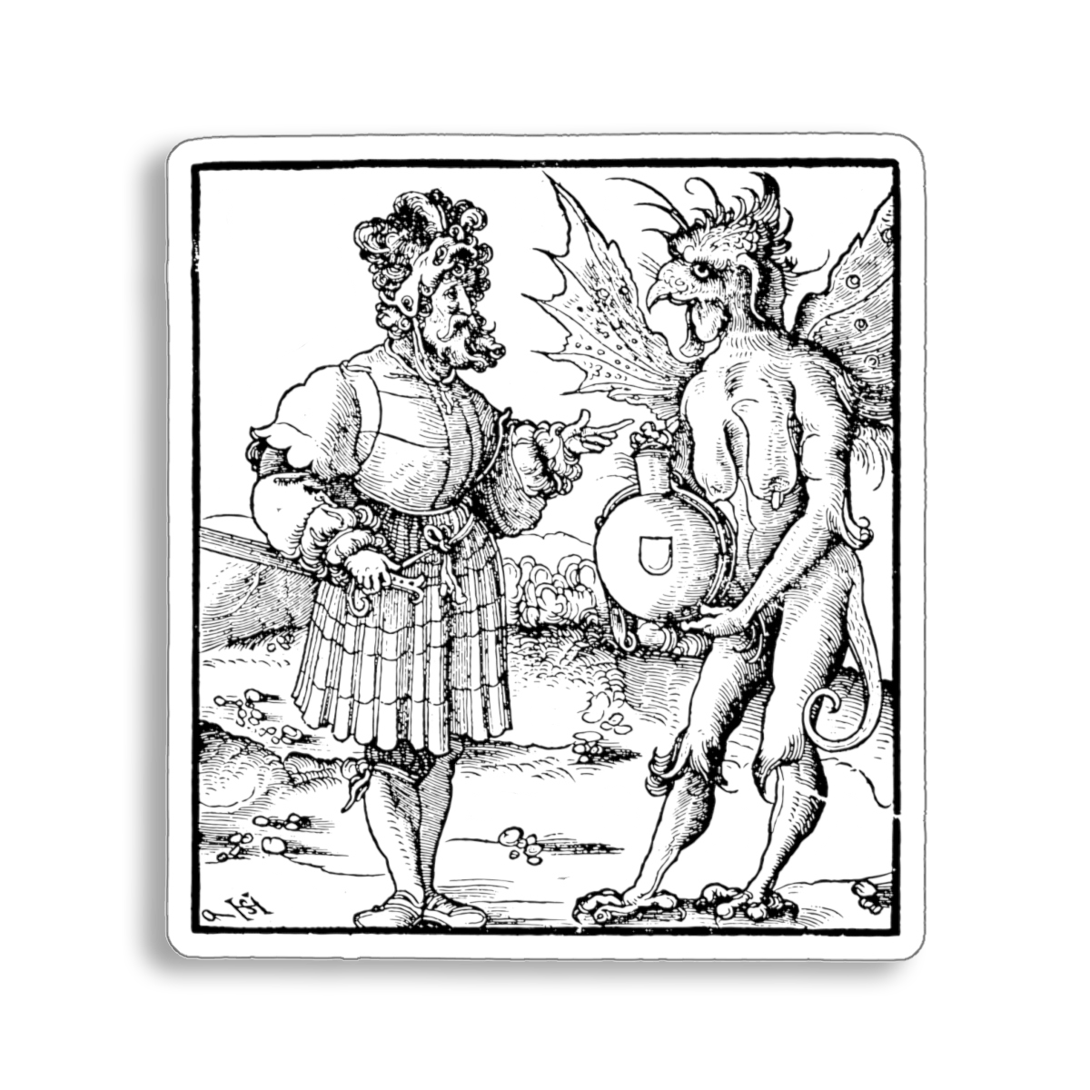 """The Devil Offering Poison to a Knight"" sticker from 1517 Renaissance woodcut"