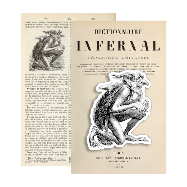 Eurynomos demon sticker from 1863 illustration in Dictionnaire Infernal