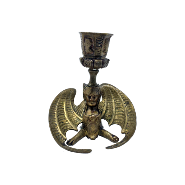 Antique brass occult evilwinged sphinx chamberstick