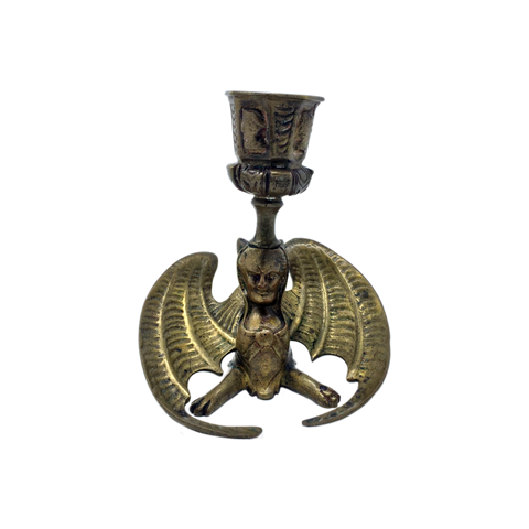 Antique brass evilwinged sphinx candlestick