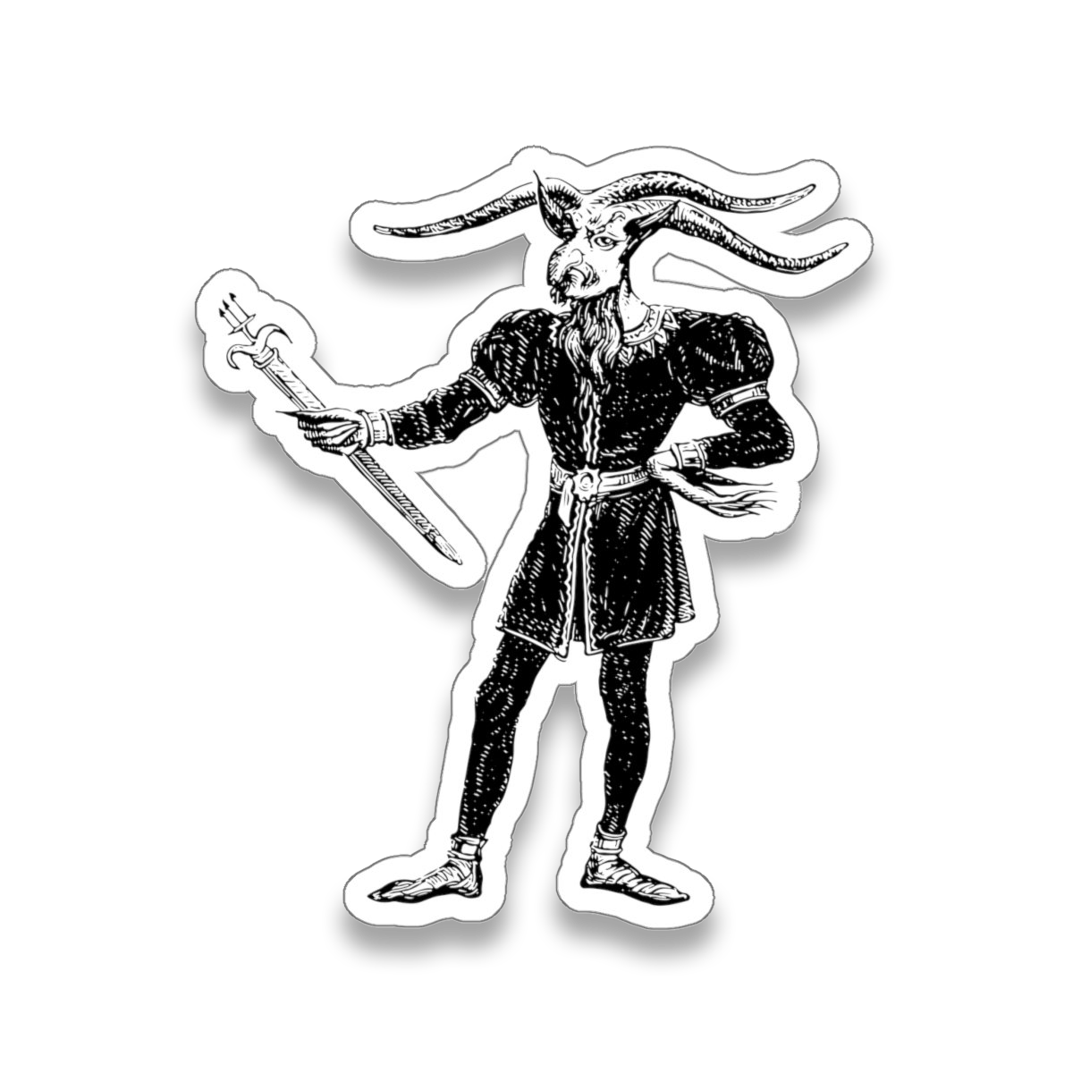 Master Léonard demon sticker from 1863 illustration in Dictionnaire Infernal