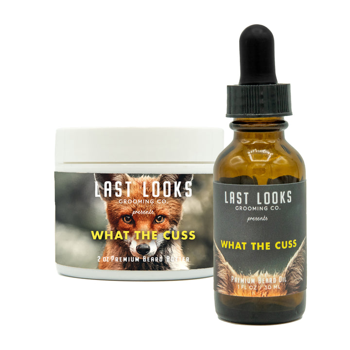Last Looks Grooming What The Cuss Beard Oil and Beard Butter Bundle Combo Inspired By The Film Fantastic Mr. Fox