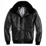 """FLEETWOOD"" - Genuine Leather Shearling Bomber Jacket"