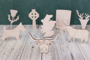 Scottish shapes - wooden craft blanks and cutouts