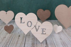 Heart Shapes - wooden craft blanks, tags and cut outs