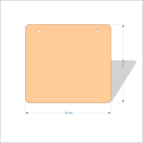 12 cm Wide 4mm thick Birch plywood Plaques with rounded corners