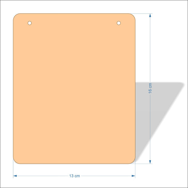 13 cm Wide 3mm thick MDF Plaques with rounded corners