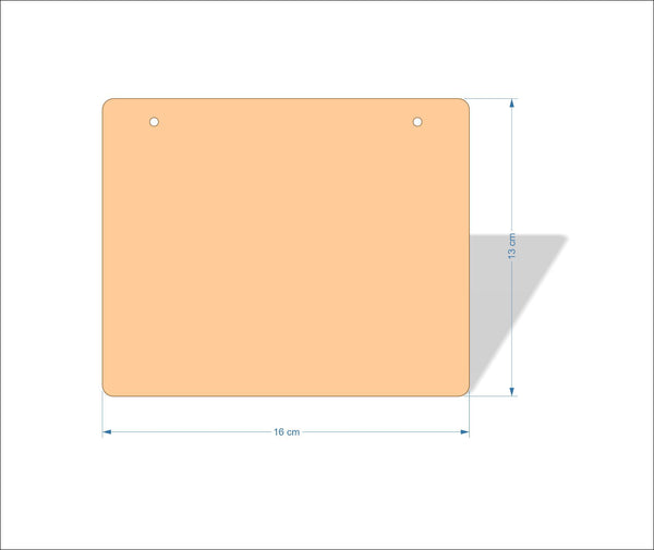 16 cm X 13 cm 3mm MDF Plaques with rounded corners