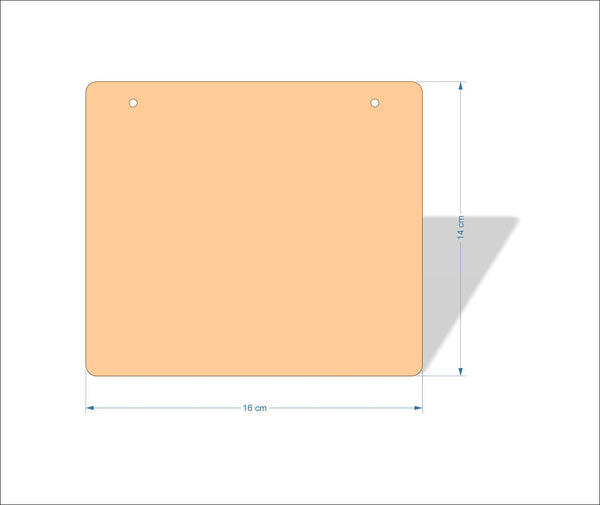 16 cm X 14 cm 4mm Birch plywood Plaques with rounded corners