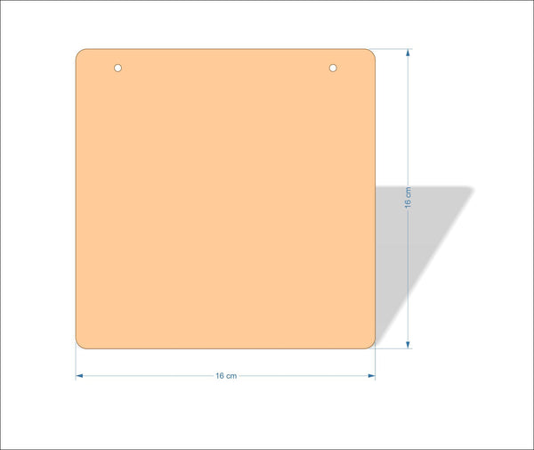 16 cm X 16 cm 4mm Birch plywood Plaques with rounded corners