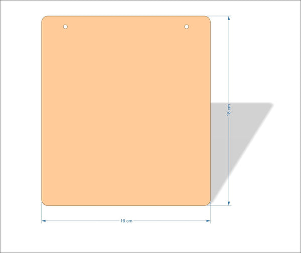 16 cm X 18 cm 3mm MDF Plaques with rounded corners