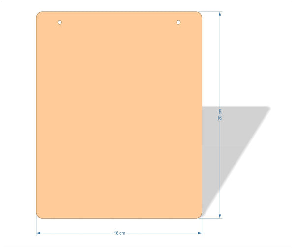 16 cm X 20 cm 3mm MDF Plaques with rounded corners