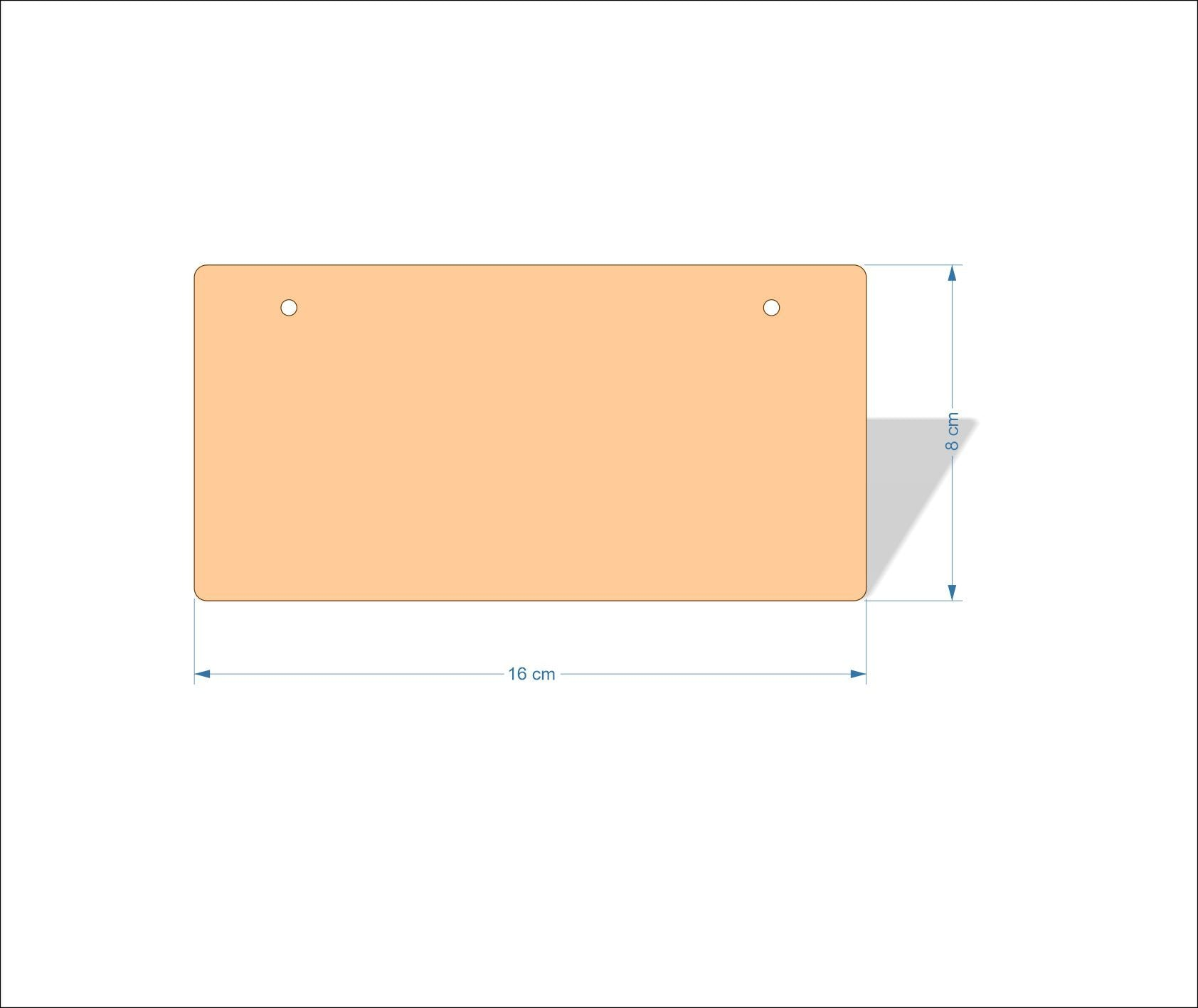 16 cm X 8 cm 4mm Birch plywood Plaques with rounded corners