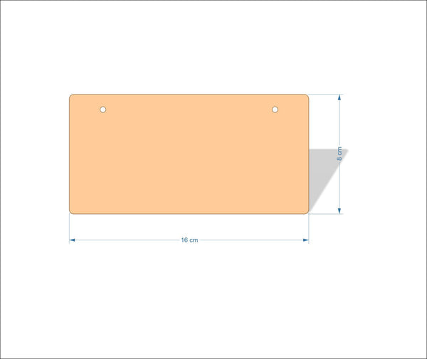 16 cm X 8 cm 3mm MDF Plaques with rounded corners