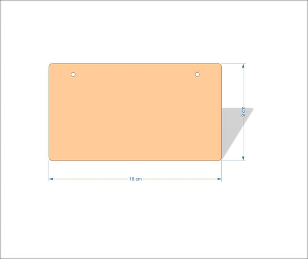 16 cm X 9 cm 3mm MDF Plaques with rounded corners