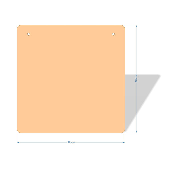 18 cm X 18 cm 4mm Birch plywood Plaques with rounded corners