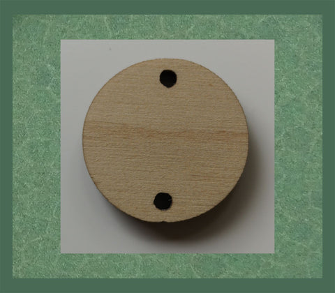 2.5cm Drop discs cut from 4mm Plywood - Two holes for hanging
