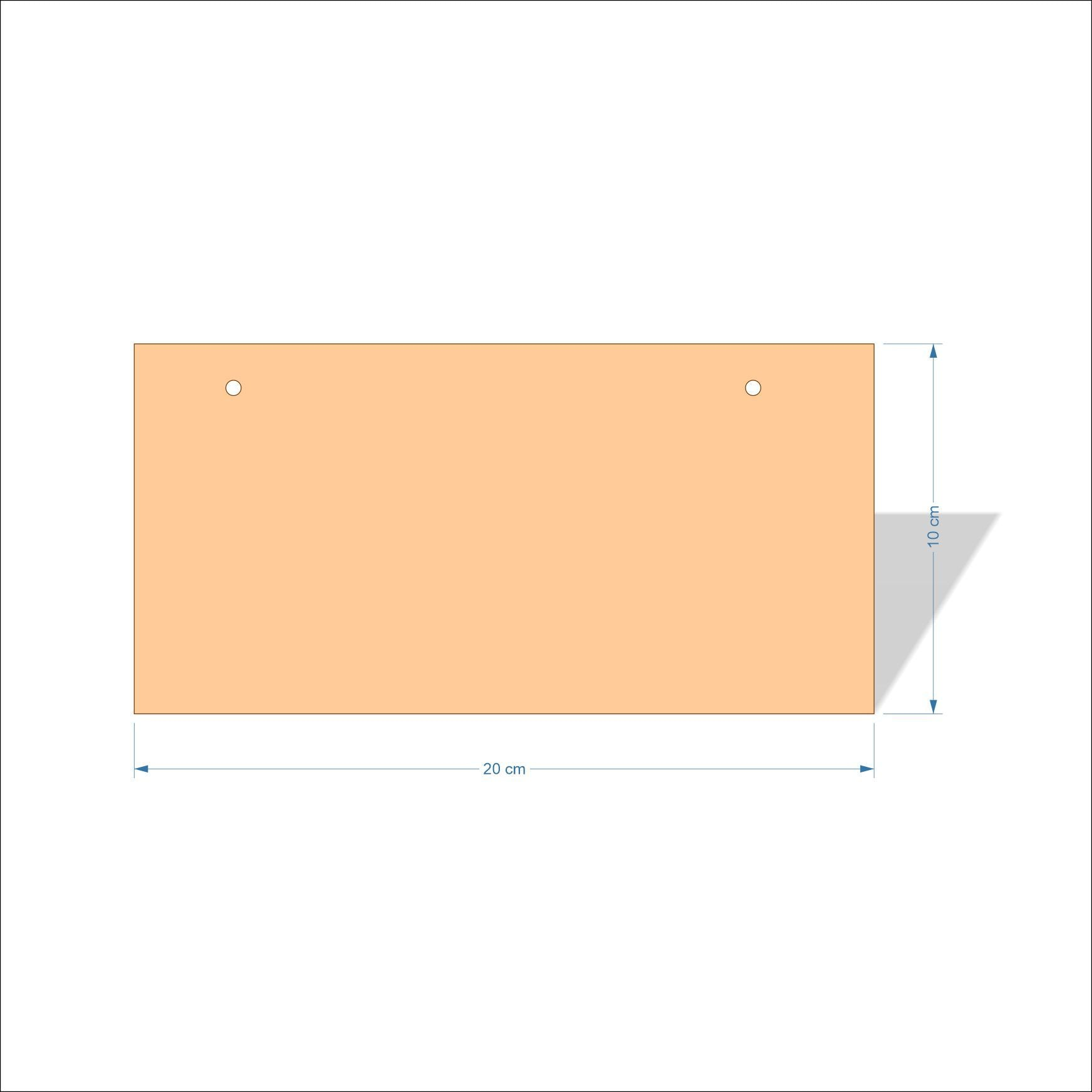 20 cm X 10 cm 4mm Birch plywood Plaques with square corners