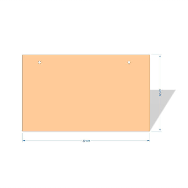 20 cm X 12 cm 4mm Birch plywood Plaques with square corners