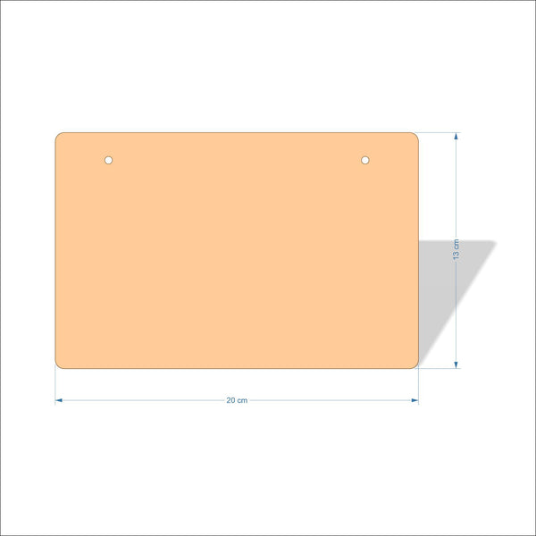 20 cm X 13 cm 3mm MDF Plaques with rounded corners