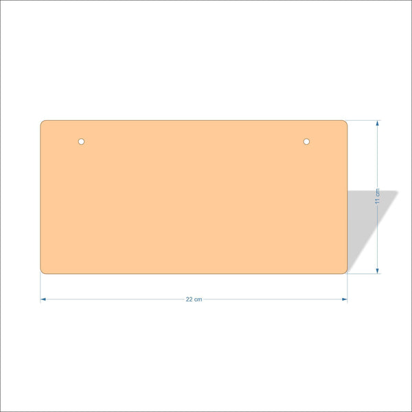 22 cm X 11 cm 4mm Birch plywood Plaques with rounded corners