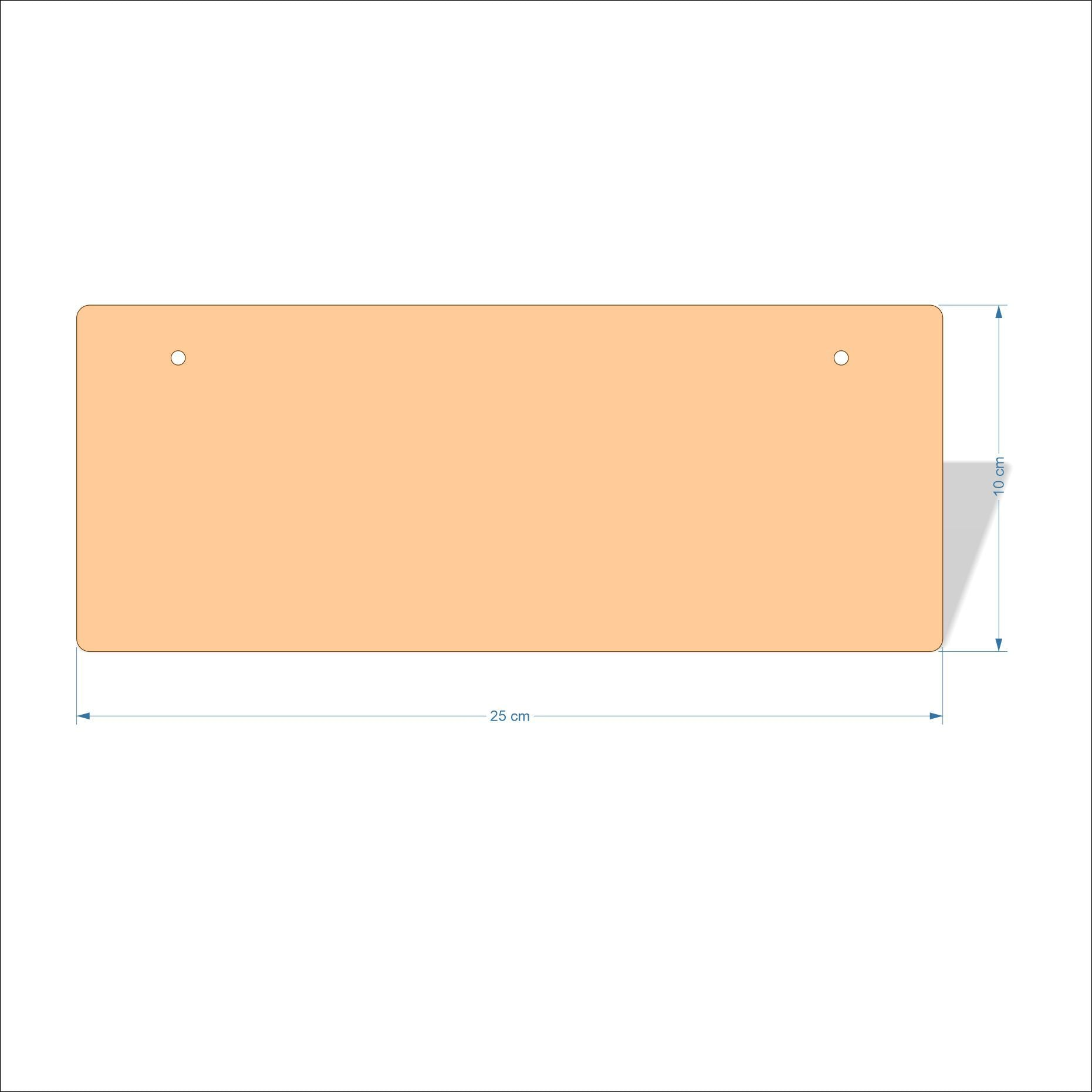 25 cm X 10 cm 4mm Birch plywood Plaques with rounded corners
