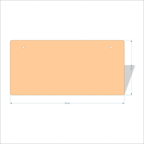 25 cm X 12 cm 4mm Birch plywood Plaques with rounded corners