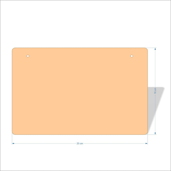 25 cm X 16 cm 4mm Birch plywood Plaques with rounded corners