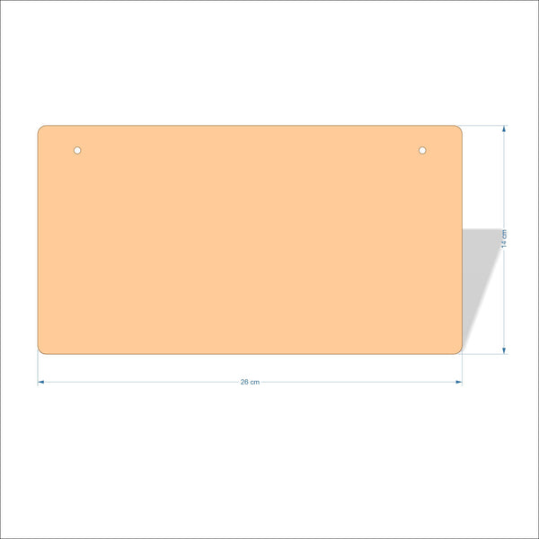 26 cm X 14 cm 3mm MDF Plaques with rounded corners
