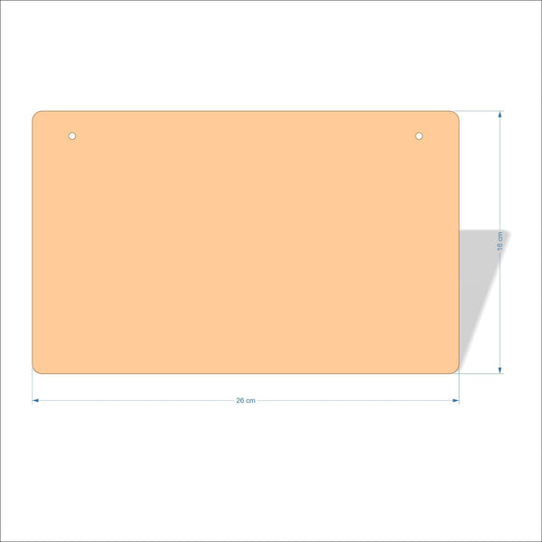 26 cm X 16 cm 3mm MDF Plaques with rounded corners