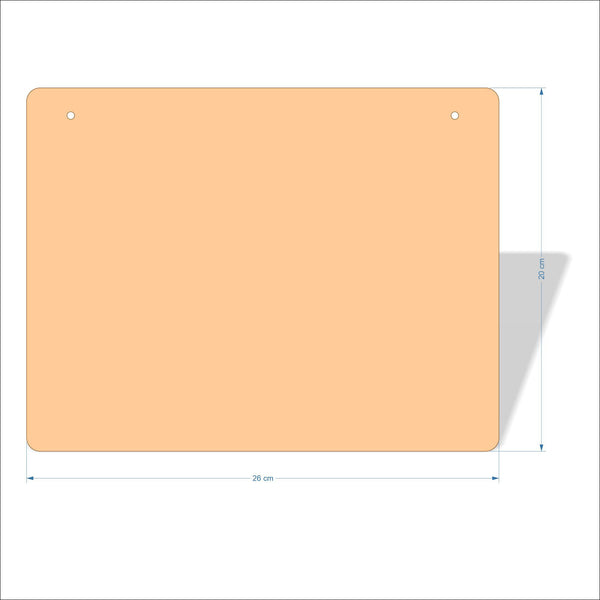 26 cm X 20 cm 3mm MDF Plaques with rounded corners
