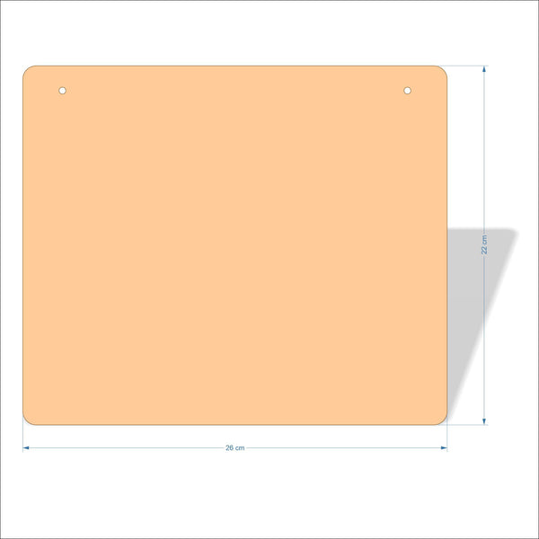26 cm X 22 cm 3mm MDF Plaques with rounded corners