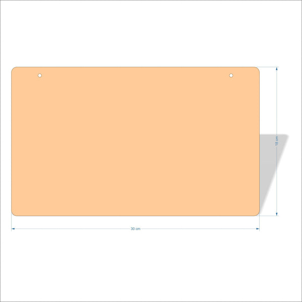 30 cm X 18 cm 3mm MDF Plaques with rounded corners
