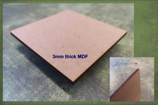 3mm thick MDF used to make the 4x4 cut-outs ready for crafting