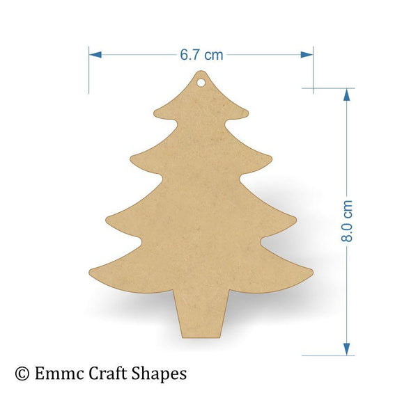 8cm size Christmas tree blank laser cut from 3mm mdf with a hanging hole.