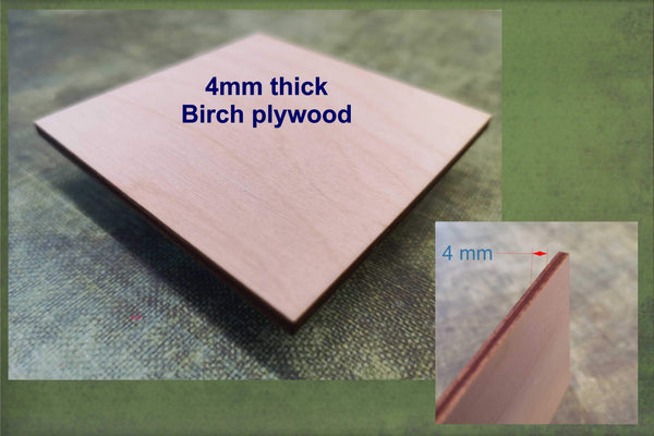 4mm thick Birch plywood used to make the 4x4 cut-outs ready for crafting