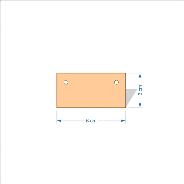 6 cm Wide 3mm thick MDF Plaques with square corners