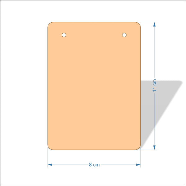 8 cm Wide 4mm thick Birch plywood Plaques with rounded corners
