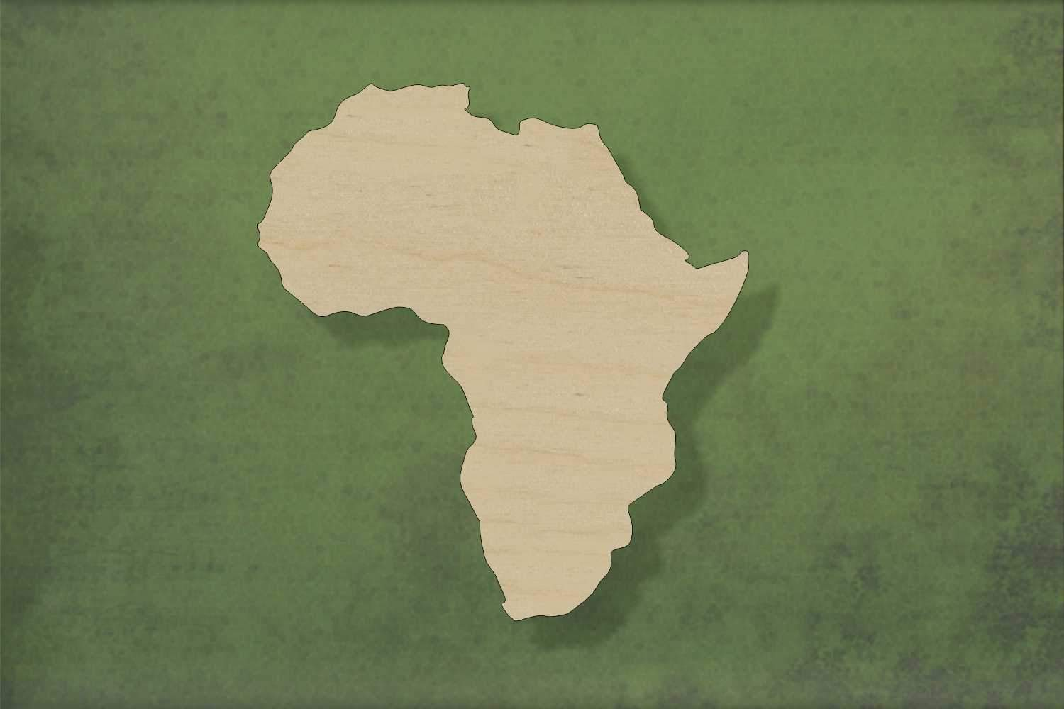 Laser cut, blank wooden Africa shape for craft