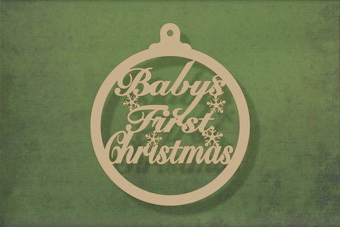 Laser cut, blank wooden Babys first christmas bauble 3 shape for craft