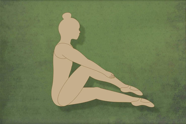 Laser cut, blank wooden Ballet girl sitting shape for craft