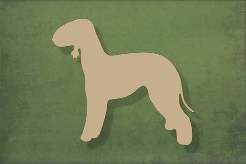 Laser cut, blank wooden Beddington Terrier shape for craft