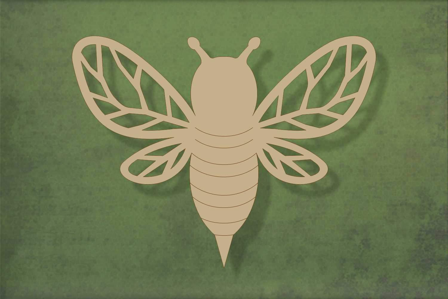 Laser cut, blank wooden Bee with cutouts shape for craft