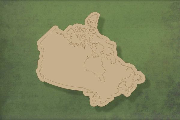 Laser cut, blank wooden Canada map etched shape for craft