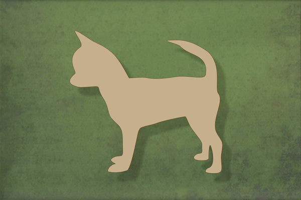 Laser cut, blank wooden Chihuahua 1 with face to front shape for craft