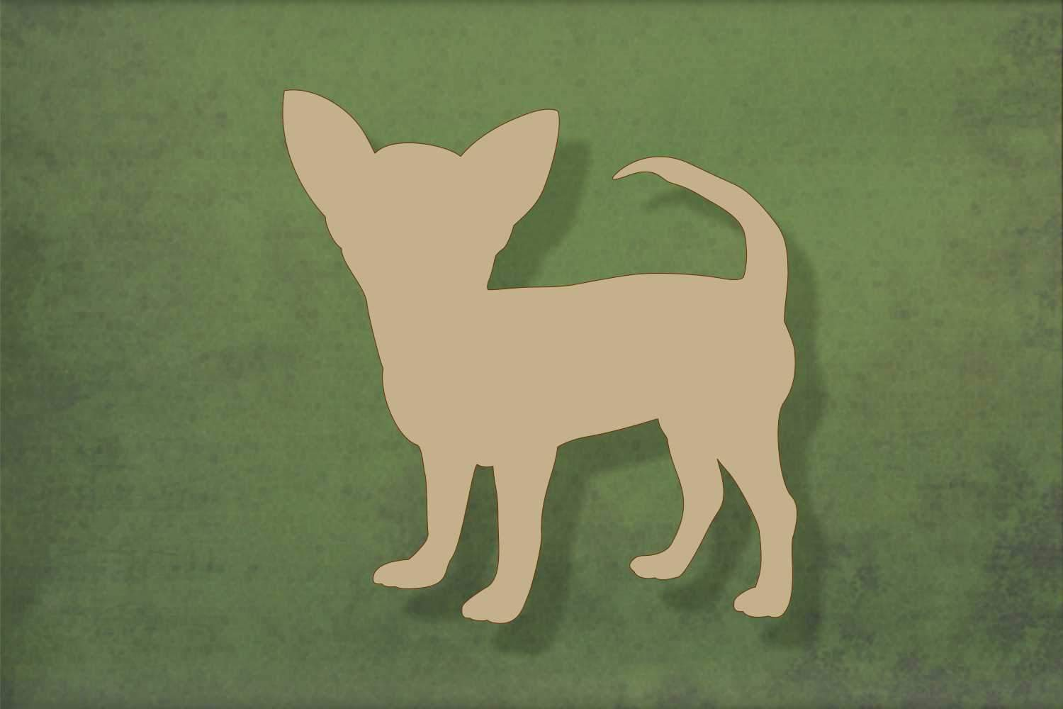 Laser cut, blank wooden Chihuahua 2 with face to side shape for craft